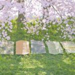 桜とピクニックラグ